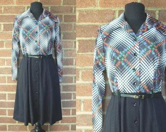 1970s Black Floral Day Dress