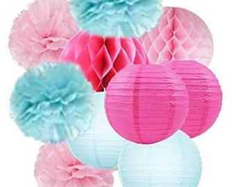 10 pcs Baby Shower Decorations Fuchsia Blue Pink Tissue Paper Pom Pom Paper Lanterns Honeycomb Balls for Birthday Decor Bridal Shower Decor