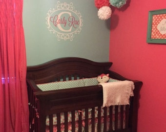 Baby Girls Room Decal - Initial Decal - Baby Girl - Initial and Border Decal - Nursery Decal - Nursery Wall Art - Personalized Name Decal