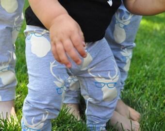 boy deer leggings, baby deer leggings, girl deer leggings, deer baby pants, hip baby pants, glasses baby leggings, boy leggings