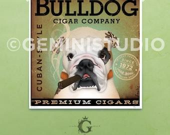 English Bulldog Cigar Company original graphic illustration giclee archival signed artist's print by stephen fowler geministudio