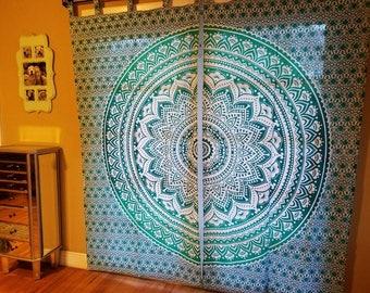 Mandala Curtains, Boho decor, mandala curtains, Mandala Tapestry Curtains, Mandala curtain panels, Hippie curtains, green mandala curtains