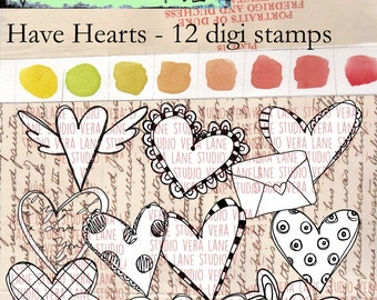 Have Hearts - Twelve digi stamps available for instant download