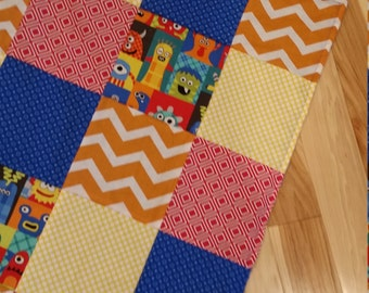 Patchwork Baby Blanket,  Baby Quilt, Security Blanket Baby Boy Monster Minky Blanket