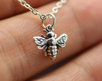 HONEY BEE NECKLACE - 925 Sterling Silver - Queen Bee Bumblebee Charm Jewelry New