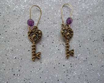 "Bronze metal earrings ""Retro key"""