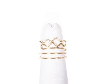 Aquarius Ring / Aquarius Midi Ring / Zodiac Ring / Midi Knuckle Ring / Aquarius Jewelry / Aquarius / Zodiac Jewelry / Wire Wrap / Gold