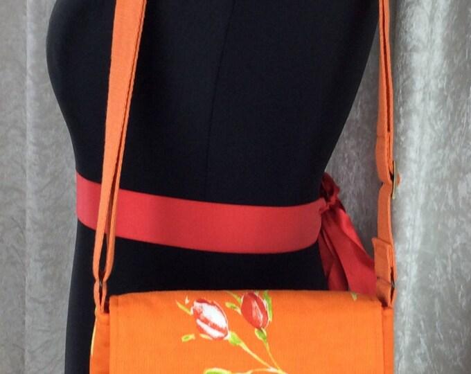 Handmade shoulder bag purse cross body bag The Jane fabric bag Roses