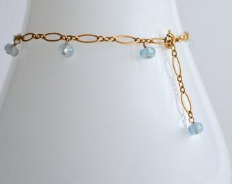 Lili - Aquamarine, 14 k Gold Filled Bracelet