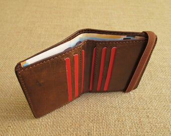 Leather bifold wallet, handmade minimalist wallet, thin Euro wallet, slim wallet, with elastic band