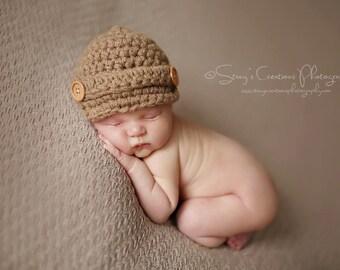 Baby Coming Home Hat, Baby Beanie, Baby Boy Hat, Crochet Boy Hat, Infant Hat, Newborn Hat, Baby Cap, Brown Baby Hat, Baby Newsboy Hat,
