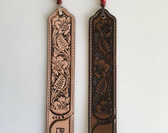 Bookmark with your initial tooled leather floral sheridan