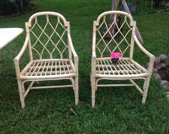 FICKS REED CHIPPENDALE Style Arm Chairs /Pair of Chippendale Style Arm Chairs / Ficks Reed style Faux Bamboo Lattice Chairs Retro Daisy Girl