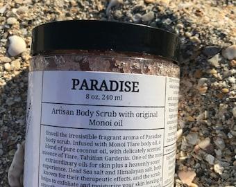 Paradise- Body scrub, Bath Salt, Salt body scrub, with Monoi Oil, limited edition, Artisan body scrub