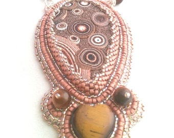 Brown Bead embroidered statement necklace with heart of eye of the tiger and  brown polimer clay - OOAK