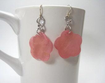 Pink Capiz Shell Flower Earrings