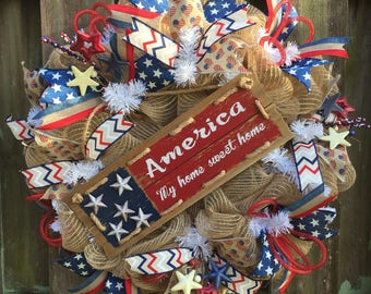 Patriotic Wreath,Americana Wreath,Independence Day Wreath,4th of July Wreath, Summer Mesh, Summer Welcome Wreath, Rustic Wreath
