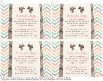 Woodland book request cards, book request download card, book instead of card, book in lieu of card, build baby library, twins book request