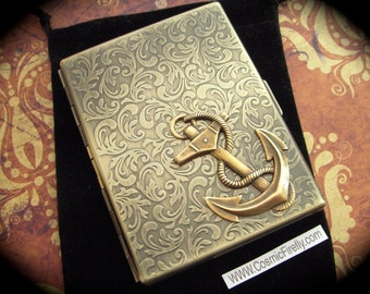 Nautical Anchor Cigarette Case Steampunk Card Case or Slim Metal Wallet Antiqued Brass Case