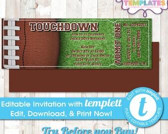 DIY Printable Football Invitations, Football Birthday, INSTANT DOWNLOAD, Birthday Party, Ticket, Templett , #475