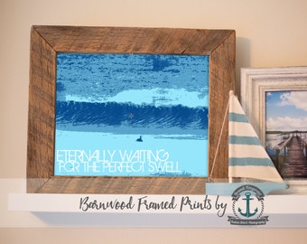 Eternally Waiting Surfer - Reclaimed Barnwood Framed Print - Ready to Hang - Sizes at Dropdown