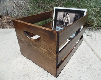 Hand Built Record LP Vinyl Crate Storage Solid Wood - Walnut