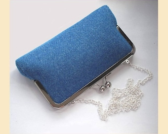 shoulder bag in Harris Tweed, blue clutch bag, blue Harris Tweed bag, tweed purse, Harris Tweed handbag, azure blue purse