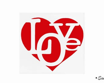 Love text fusible applique heart small size