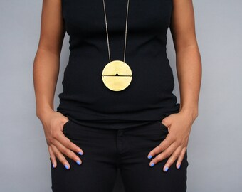 Large geometric statement necklace gold disc necklace oversize big round huge circle pendant long bold chunky brass jewelry -Megan Necklace