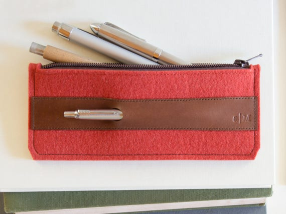 Felt and leather PENCIL CASE, sunglasses case, pen holder, orange and brown, wool felt, handmade, made in Italy