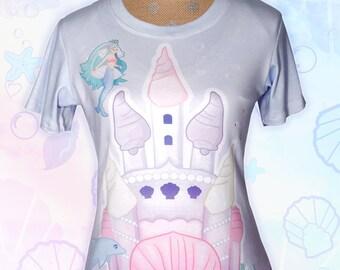 Mermaid Shirt Kawaii Pastel Fairy Kei Mermaid Castle Shirt Marine Ocean Undersea All Over Print T-Shirt Mermaid Kei Size XS - 3XL *PreOrder*