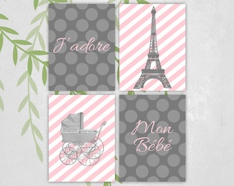 Eiffel tower nursery art - Paris nursery decor baby girls - J'adore Mon Bébé - gray and pink - stripes - polkadots - vintage baby carriage