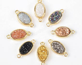 Wholesale Gold Plated Small Oval Rainbow Natural Titanium Crystal Druzy Connector Double Bails Sparkly Agate Geode Jewelry Charm ZG0142