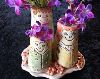Bud vase/family vase/vase with a face/ceramic vase/flower vase/Mother's Day gift/baby gift/father's day gift/handmade pottery vase/whimsical