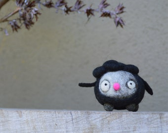 Needle Felted Cashmere and Merino Wool Mini Spring Black Sheep Toy  Ready to Ship