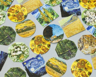 45 Pcs Van Gogh Sticker, Sunflower Sticker Flakes, Starry Starry Night Filofax Stickers, Scrapbook, Impressionism Schedule Sticker, Artist