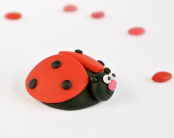 Ladybug Brooch - Cute spring jewelry for children - Insect series