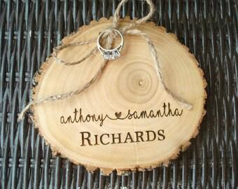 Wedding Ring Holder, Wood Slice, Wood Ring Holder, Wedding Ring Alternative Pillow, Engraved Wood Slice, Rustic Wedding, Rustic Ring Holder