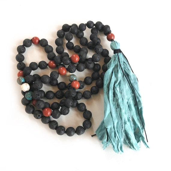 Root Chakra Mala Beads - Black Lava Mala - Unisex Mala Necklace - 108 Bead Mala - Mantra Mala Beads - Grounding Mala - Natural Healing