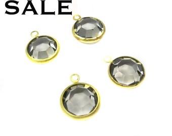 Vintage Black Diamond Swarovski Rhinestone Crystal Channel Charms (14mm) (4X) (S528) SALE - 50% off