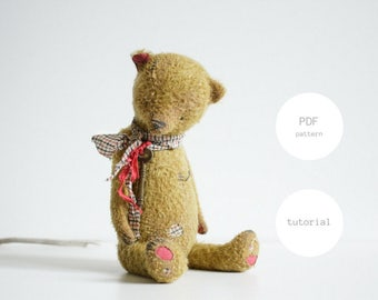 Pdf Sewing Pattern & Tutorial Mohair Teddy Bear 12 Inches Stuffed Animal Pattern Artist Teddy Bear Pattern For Women Soft Toys