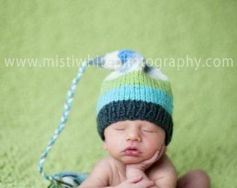 NeWBoRN Stocking Hat Knit BaBY PHoTO PRoP Unisex Baby Beanie PReCiOUS FCN TaSSeL CaP Charcoal Aqua Celery Cream Stripe CHooSE CoLOR Toque