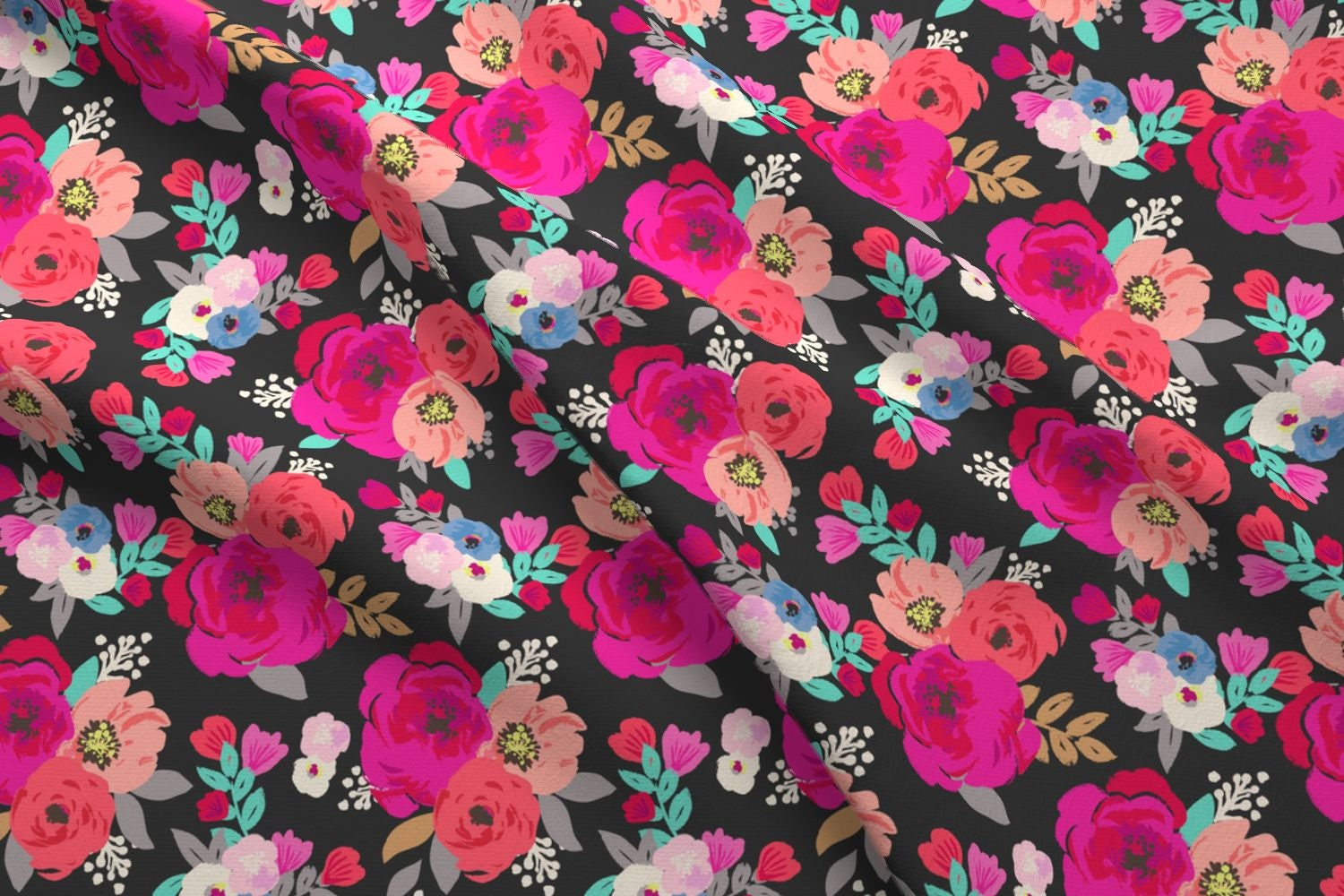 Floral Peony Fabric - Sweet Pea Floral Black By Crystal Walen - Peony  Cotton Fabric By The Yard With Spoonflower from Spoonflower on Etsy Studio