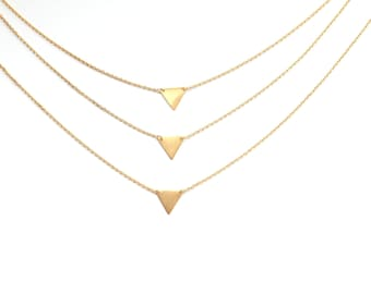 Layering gold geometric triangle Necklace,geometric necklace, triangle jewelry,gold necklace, tiny necklace