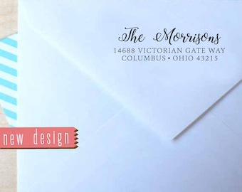 CUSTOM address STAMP from USA, pre inked stamp, Wedding Stamp, rsvp stamp, return address stamp with proof - Calligraphy Address Stamp b5-42