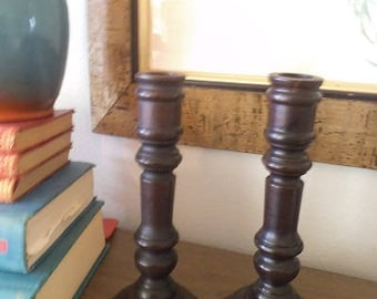 Vintage Hand turned Wooden Candle Holders ~ 2 Solid wood taper holders ~