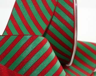 """Red & Green Stripe Ribbon, 1.5"""" wide by the yard, Candy Cane Stripe Ribbon, Gift Wrapping, Bows, Christmas Ribbon, Gift Ribbon, Garlands"""