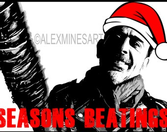 The Walking Dead Geeky Christmas Card Negan Seasons Beatings