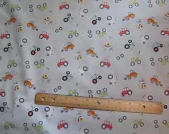 Gray with Multicolored Tractors Cotton Fabric by the Yard