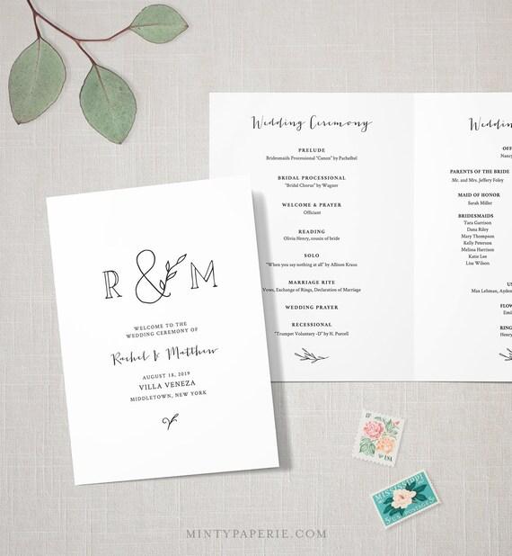 Rustic Wedding Program Template, INSTANT DOWNLOAD, Order of Service, Folded Ceremony Program, 100% Editable, Kraft, Monogram  #042-120WP